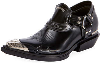 Balenciaga Men's Santiag Harness Leather Loafers
