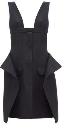 Jacquemus Lecci Panelled Cotton Blend Canvas Mini Dress - Womens - Navy