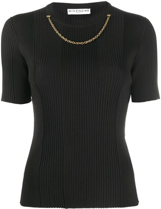Givenchy Chain Embellished Ribbed Knitted Top