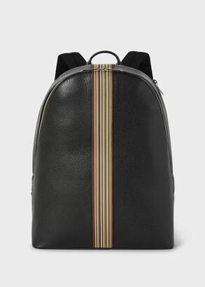 Paul Smith Men's Black Leather Signature Stripe Backpack