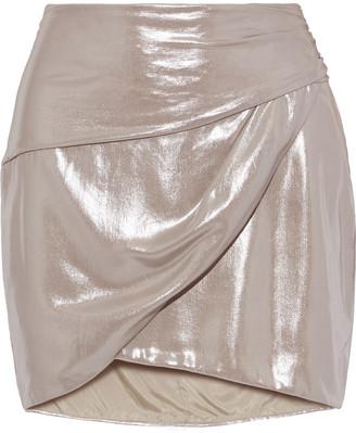 Mason by Michelle Mason Wrap-effect Gathered Lame Mini Skirt