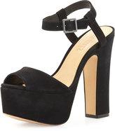 Schutz Lorraine Peep-Toe Platform Suede Sandal, Black
