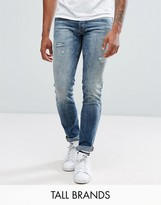 Jack & Jones Tall Intelligence Jeans In Slim Fit With Open Rips