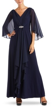 R & M Richards Embellished-Waist Draped Gown