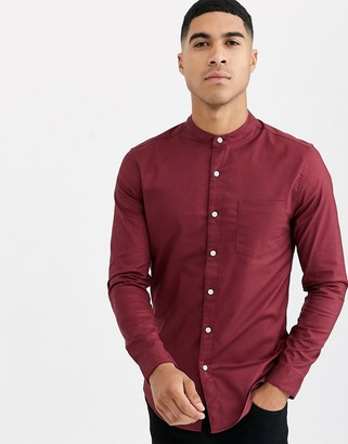 Topman long sleeve oxford shirt with grandad collar in burgundy