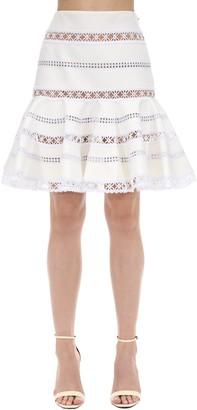 Ingie Paris Ruffled Lace & Cady Mini Skirt