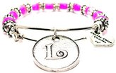 Letter L In Circle Hot Pink Glass Beaded Adjustable Bangle Bracelet ChubbyChicoCharms