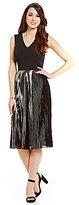 Antonio Melani Cilan Sleeveless Stretch Crepe Pleated Metallic Dress