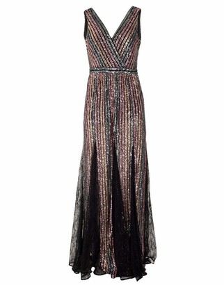 Marchesa Sleeveless V-Neck Striped Sequin Gown