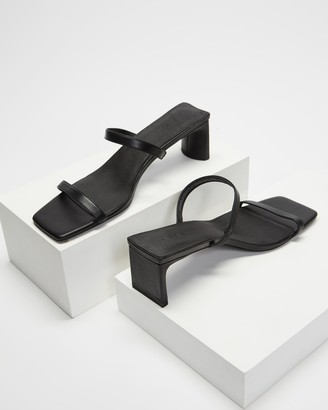 AERE - Women's Black Heeled Sandals - Double Strap Leather Mule Heels - Size 6 at The Iconic