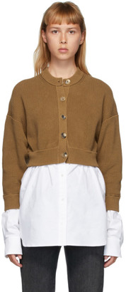 Alexander Wang Brown Bi-Layer Oxford Shirting Cardigan