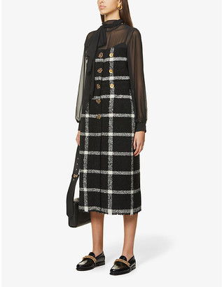 Ports 1961 Checked wool and silk-blend midi dress