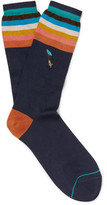 Paul Smith Embroidered Striped Cotton-blend Socks - Navy