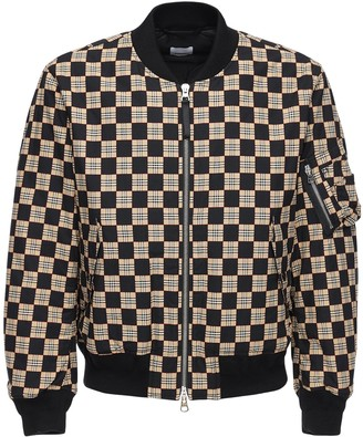 Burberry Check Grid Cotton Bomber Jacket