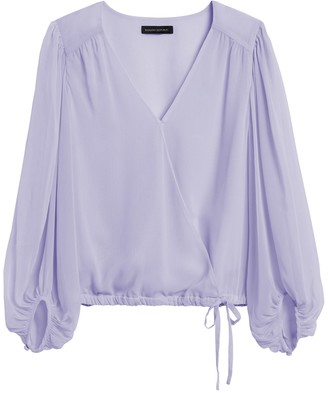 Banana Republic Petite Puff-Sleeve Wrap Top