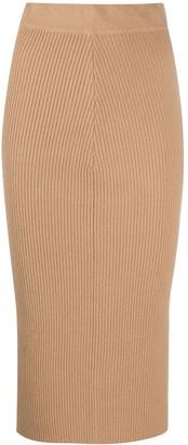 Andamane Ribbed Knit Midi Skirt