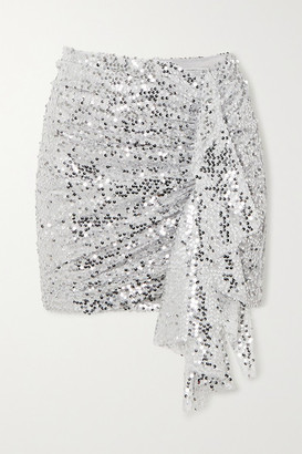 In The Mood For Love Emely Ruched Sequined Chiffon Mini Skirt - Silver