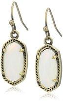 Kendra Scott Lee Antique Brass White Banded Agate Drop Earrings