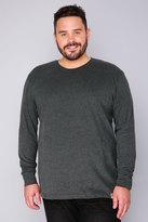 Yours Clothing BadRhino Dark Grey Long Sleeved T-Shirt