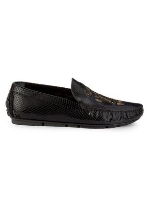 Roberto Cavalli Embroidered Snakeskin-Embossed Leather Loafers