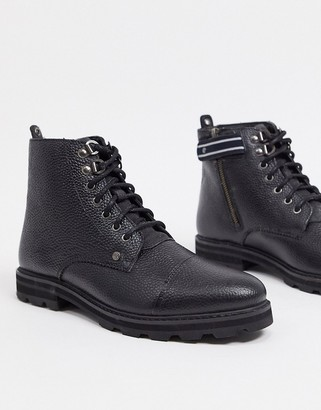 Original Penguin side zip chunky lace up boots in black leather