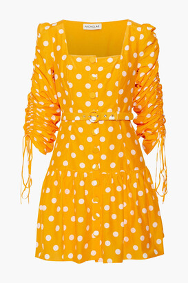 Nicholas Belted Ruched Polka-dot Cotton And Silk-blend Mini Dress