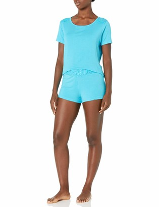 Bottoms Out Women's Modal Sleeve Tee and Short with Lace Trim Sleep Set