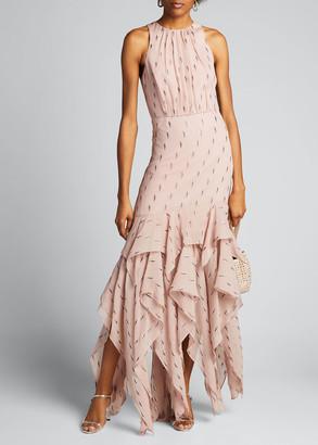 Halston Metallic Clip Jacquard Ruffle Skirt Gown