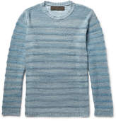 The Elder Statesman Striped Mélange Cashmere Sweater
