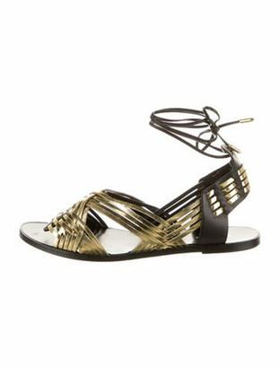 Balmain Leather Gladiator Sandals Gold