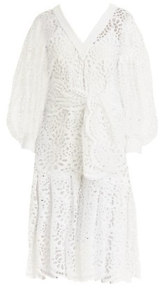Carolina Herrera Lace Eyelet Dramatic Puff-Sleeve V-Neck Tie-Waist Flounce Midi Dress