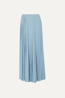 The Row Tulu Pleated Silk Crepe De Chine Maxi Skirt - Blue