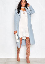 Missy Empire Shay Blue Waterfall Drape Coat