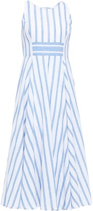 Gül Hürgel Flared Striped Cotton And Linen-blend Midi Dress