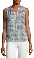 Joie Finnegan Sleeveless Floral Plaid Silk Top, Gray