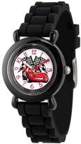 Cars Boys' Disney Lightning McQueen Plastic Time Teacher Watch, Silicone Strap, WDS000150