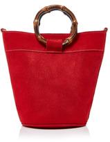 Glorinha Paranagua Yasmine Bamboo-Trimmed Suede Shoulder Bag