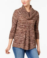 NY Collection Petite Marled Cowl-Neck Sweater