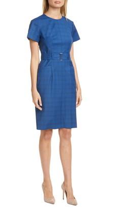 BOSS Plaid Wool Sheath Dress