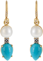 Irene Neuwirth Diamond, pearl, turquoise & yellow-gold earrings