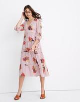 Madewell Tie-Sleeve Tiered Midi Dress in Market Bouquet
