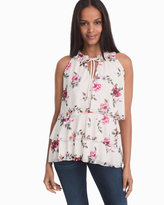 White House Black Market Sleeveless Tiered Floral Top