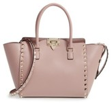Valentino Rockstud Small Double Handle Leather Tote - Black