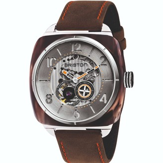 Briston Streamliner Skeleton Brown Smoked Acetate Silver Dial