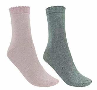Couture Women's Super Soft Glitter Socks 2pp - One Size (Pink/Grey)
