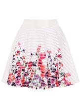 Quiz White And Multicoloured Flower Print Skater Skirt
