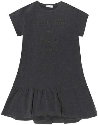 Brunello Cucinelli Kids Embroidered stretch-cotton dress