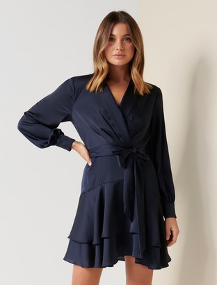 Forever New Mikayla Satin Mini Dress - Indigo Dust - 6