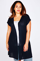 Yours Clothing Navy Longline Knitted Shrug With Extended Shoulders