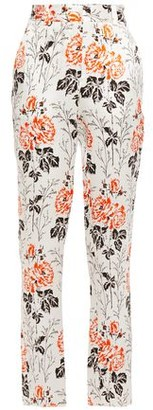 Victoria Beckham Floral-print Crinkled-satin Tapered Pants